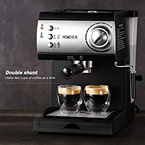 Traditional Pump Espresso Coffee Machine,Homever 15 Bar 1050W Italian Traditional Espresso Coffee Maker with Milk…