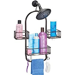 mDesign Bathroom Shower Tub Caddy Organizer Storage Center for Soaps, Shampoos, Conditioners, Body Washes, Scrubs, Washcloths, Loofahs - Solid Steel Construction with Bronze Finish