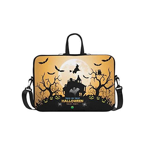 InterestPrint Halloween Night Party Orange Holiday Festival Theme 15 15.6 Inch Waterproof Neoprene Laptop Sleeve Notebook Pocket Case Bag for Women Men