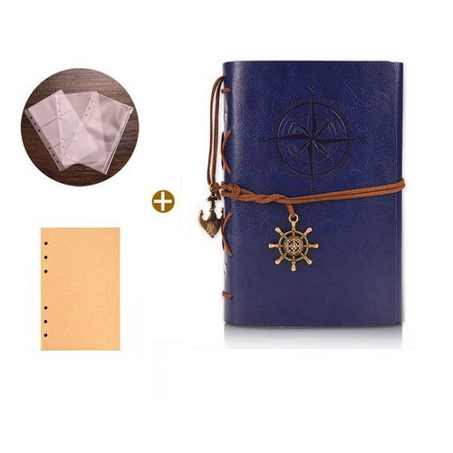 Vintage Leaf Leather Cover Loose Leaf Blank Journal Diary (Blue) - 6