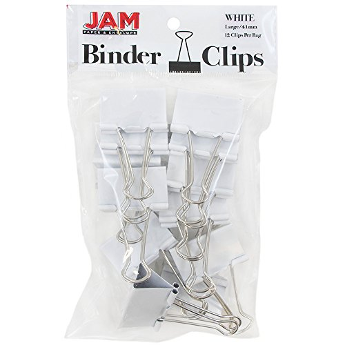 JAM Paper Binder Clips - Large - 41mm - White Binderclips - 12/pack