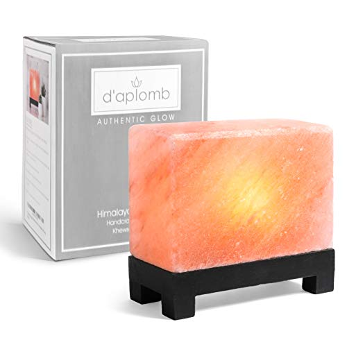100% Authentic Natural Himalayan Salt Lamp; Hand-Carved Modern Rectangle in Pink Crystal Rock Salt from The Himalayan Mountains; Footed Wood Base, UL-Listed Dimmer Cord; 11.5 lbs by d'aplomb (Image #7)