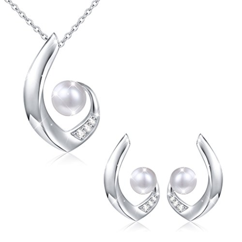 S925 Sterling Silver Charm Bride Jewelry Sets Pearl Necklace Earrings Set for Women