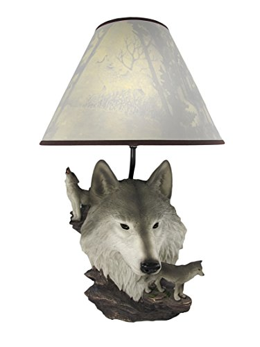 Things2Die4 Gray Wolf Bust Table Lamp W/ Nature Print Shade