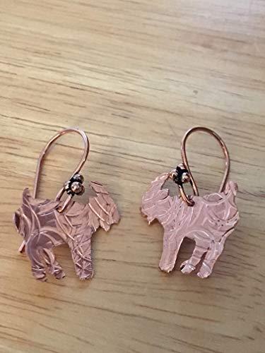 (Hammered Copper Goat Earrings, Stamped Goat Earrings)