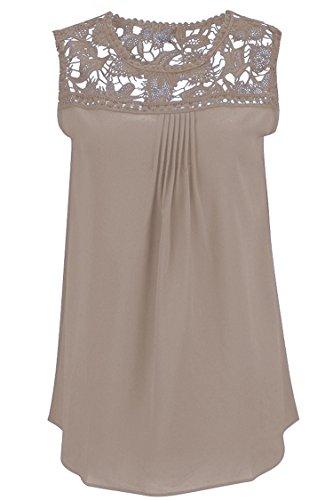 Manzocha Women's Lace Chiffon T Shirt Stitching Blouse Hollow Out Tops – Medium, Khaki