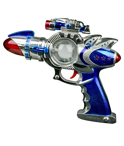 FunCentral AT755 13 Inch LED Flashing Spinning Space Blaster Gun Toy with Sounds, LED Space Blaster Gun, Kids High Tech Rifle for Party Favors, Rewards -