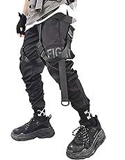 Ambcol Heren Joggers Streetwear Mannen Hip Hop Goth Broek Joggingbroek Techwear Tactische Zwarte Tactische Urban Joggers Broek