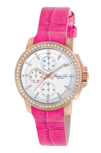 Kenneth Cole New York Women's KC2807 Dress Sport White Multi-Function Dial Stone Pink Strap Watch