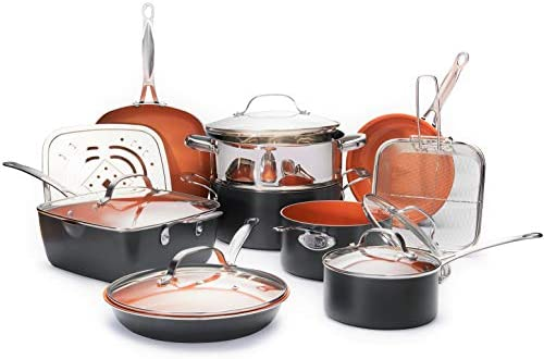 GOTHAM STEEL Ultimate 15 Piece All in One Chefâ€s Kitchen Set Copper Coating – Includes Skillets, Stock Pots, Deep Square Pan with Fry Basket