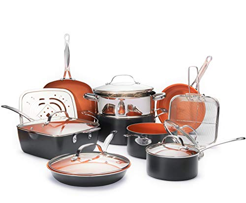 Gotham Steel 1752 Ultimate 15 Piece All in One Chef's Kitchen Set with Non-Stick Ti-Cerama Copper Coating - Includes Skillets, Stock Pots, Deep Fry Basket and Shallow Square Pan