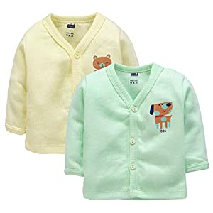 Simply Baby Pack of 2 Full Sleeves Thermal Top 0-1 Month Color: Green,Yellow 100% Cotton Winter Wear Front Open Kids…