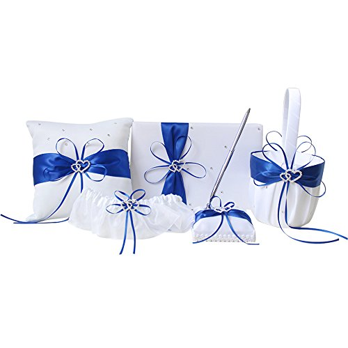 AmaJOY 5pcs Sets Wedding Guest Book + Pen Set + Flower Basket + Ring Pillow + Garter, White Cover, Double Heart Rhinestone Decor Royal Blue Ribbon Bowknot Elegant Wedding (Guest Book Pen Set Ring)