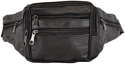Cowhide Leather Large Size 7 Pockets Fanny Pack, Waist Pack