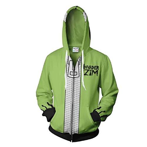Invader ZIM Hoodie Doom Hoodies Adult Unisex Casual Hooded Zip Up Sweatshirt M (Sweater Christmas Zim)