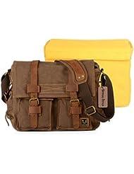 Bronze Times(TM) Casual Canvas Leather DSLR SLR Camera Shoulder Messenger, also Fit 14 Laptop