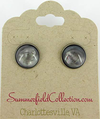 Hematite-tone Faux Stone Resin Stud Earrings 12mm Mystical Gray Pink