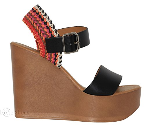 Toe Open Multi Strap Heeled Shoes Sandal Black Ankle Women's Mve Platform c Sandals IqaPAXxawp