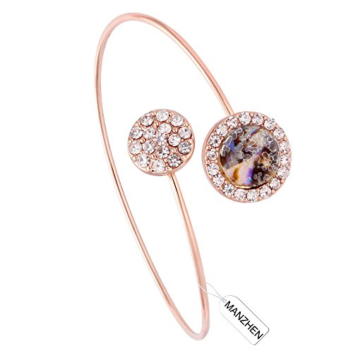 MANZHEN Gold Rose Gold Silver Transparent Glass Abalone Shell Sea Shell Crystal Round Cuff Bangle Bracelets Wire Bangle (rose gold) (Gold Seashell Bracelet)