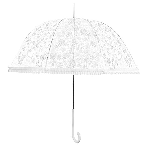 Becko Stick Umbrella / Flower and Heart Pattern Clear Canopy Bubble Umbrella / Transparent Dome Shape Princess Style Rain Umbrella with Gradient J-handle for Wedding / Party / Camping (White)