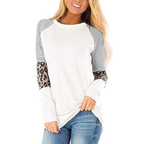 41SBc81gGtL. SS500 Característica: las tapas de manga larga están con ojos y rayas, que es nuevo diseño en este año, muy novedoso. Diseño: las camisas casuales de la blusa de las mujeres diseñadas con tops de manga larga, camisas casuales de cuello redondo, camiseta de ojo, camisetas de túnica raglán, ajuste holgado y camiseta básica. Material cómodo: las camisetas de manga larga están hechas de poliéster.