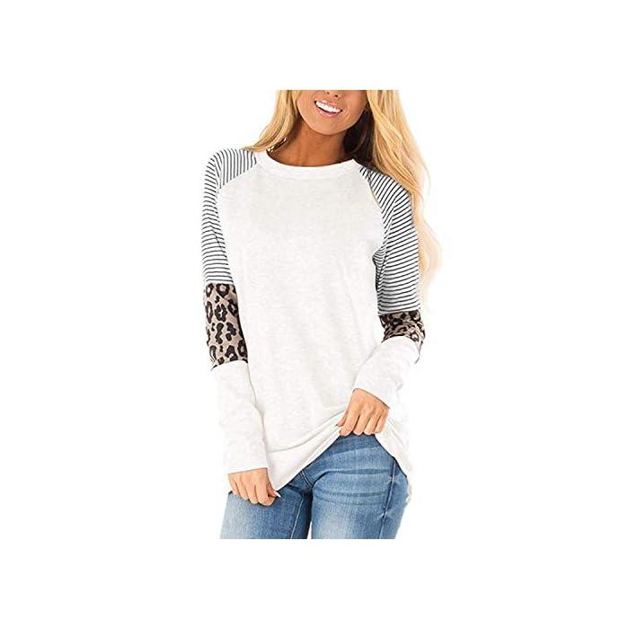 41SBc81gGtL Característica: las tapas de manga larga están con ojos y rayas, que es nuevo diseño en este año, muy novedoso. Diseño: las camisas casuales de la blusa de las mujeres diseñadas con tops de manga larga, camisas casuales de cuello redondo, camiseta de ojo, camisetas de túnica raglán, ajuste holgado y camiseta básica. Material cómodo: las camisetas de manga larga están hechas de poliéster.
