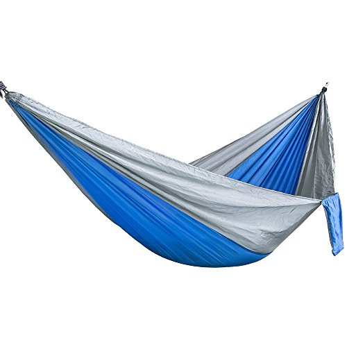 Ouneed Double Camping Hammock, Portable Parachute Nylon Hammock Swing Bed for Backpacking Travel (Blue & Grey)