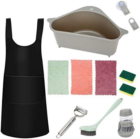 10PCS Household Cleaning Tools Set, Good Grips Dish Brush, Palm Brush Storage Set, Cotton Kitchen Towels, Sink Basket, Cooking Apron, Vegetable Peeler for Kitchen, Scrub Sponges for Dish Pan Pot