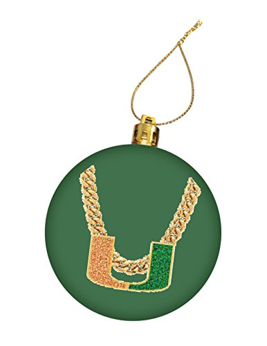 University Of Miami Hurricanes Turnover Chain Christmas Ornament  Design 6   Green