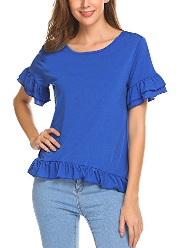 Pasttry Women's Ruffle Hem Short Sleeve Summer Casual Blouse Shirt Top Cobalt Blue M