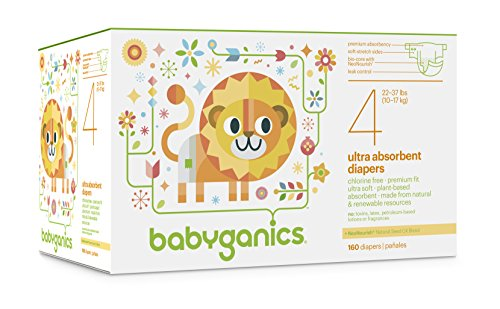 Babyganics Ultra Absorbent Diapers Economy Pack, Size 4, 160 Count