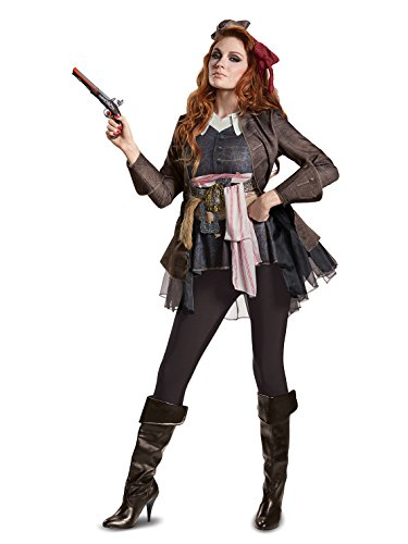 Disney Women's POTC5 Captain Jack Sparrow Female Deluxe Adult Costume, Brown, Large Caribbean Deluxe Party Kit