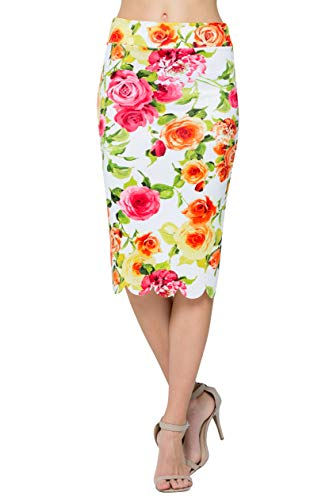 Junky Closet Women's Scallops Knee Length High Waisted Pencil Skirt (Made in USA) (Large, Ivory Rose LLAP)