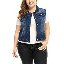 Agnes Orinda Women's Plus Size Chest Pockets Single Breasted Denim Vest