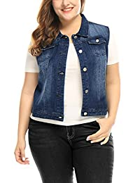 uxcell® Women's Plus Size Single Breasted Denim Vest with Two Flap Chest Pockets