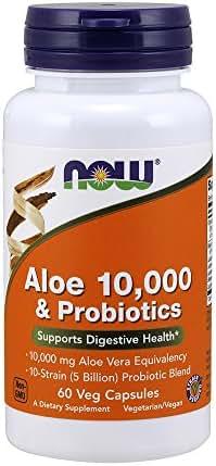 NOW Supplements, Aloe 10,000 & Probiotics with 10-Strain (5 Billion) Probiotic Blend, 60 Veg Capsules