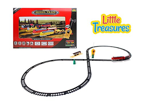 Basic Fun Trains - Little Treasures Remote Control Train Set for Boys and Girls to Play Together and Speed Down the Train tracks Fun Education Game Set