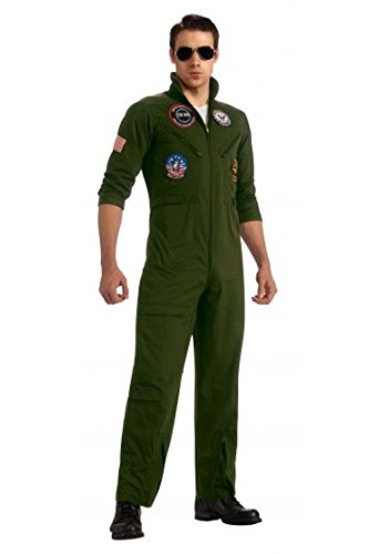 Top Gun US Navy Adult Flight Suit, Khaki, Plus Costume - Top Gun Family Costume