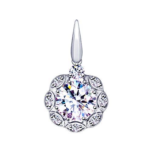 Paradis.Love Sokolov Sterling Silver .925 Halo Pendant Rhodium Plated w/Cubic Zirconia Swarovski Crystals 7.5 cttw (White CZ)