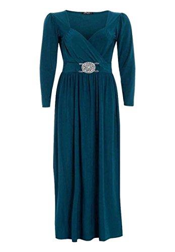 À Manches Longues Pour Femmes Grande Taille Front Buckle Fluide Enveloppant Robe Maxi 16-26 - Sarcelle, EU 48-50