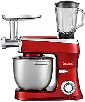 Robot de cocina 3 en 1, 2100 W, amasadora, batidora, 7,5 L, rojo ...