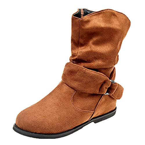Vuticly Womens Fashion Flat Heels Calf Boots Suede Side Zipper Slouchy Ankle Booties Winter Boots Brown