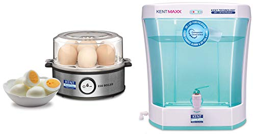 Kent Instant Egg Boiler 360-Watt (Transparent and Silver Grey) & KENT Maxx 7-Litres Wall Mountable/Table Top UV + UF (White and Blue) 60-Ltr/hr Water Purifier with detachable storage tank