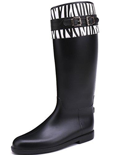 Boot TONGPU Tall Zebra PU High Leather Wrap Knee Rain gzgZfwq0