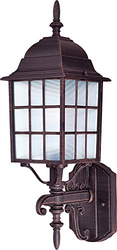 Maxim 1050RP North Church 1-Light Outdoor Wall Lantern, Rust Patina Finish, Clear Glass, MB Incandescent Incandescent Bulb , 60W Max., Dry Safety Rating, Standard Dimmable, Glass Shade Material, 10080 Rated Lumens (Finish Rust Bulb 1)
