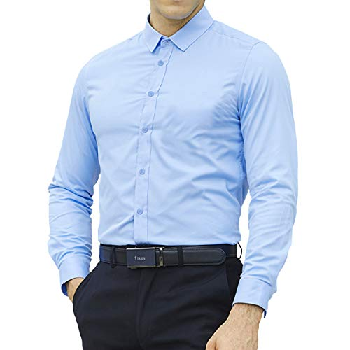 LOCALMODE Mens Slim Button Down Easy Care Business Shirts Cotton Long Sleeve Casual Solid Dress Shirts Light Blue Medium - Mens Light Cotton Dress Shirt