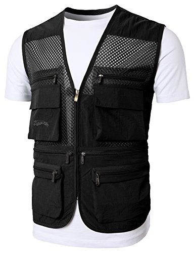 H2H Mens Casual Work Utility Hunting Travels Sports Vest with Multiple Pockets Black US M/Asia L - Hunting Black Vest
