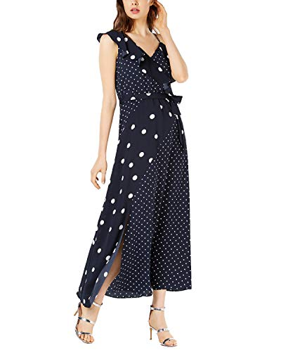 Bar III Mixed Dot-Print Maxi Dress (Floating Navy, M) from Bar III