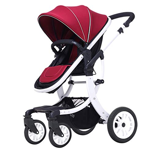 Pushchairs Prams Lightweight Two-Way High Landscape Stroller, Adjustable Awning Seat Belt Folding Pedal Brake Damping Design Baby Pushchairs Strollers (Color : C)