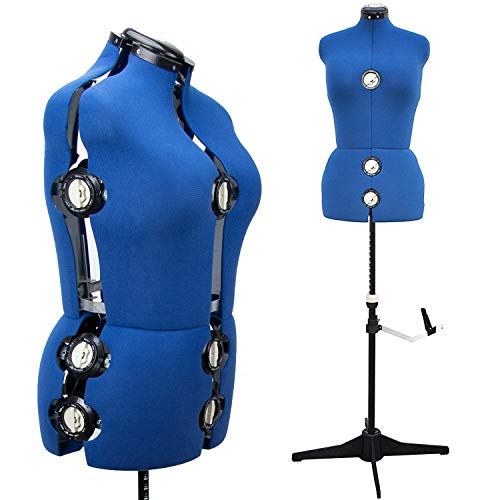"13 Dials Female Fabric Adjustable Mannequin Dress Form for Sewing, Mannequin Body Torso with Tri-Pod Stand, Up to 70"" Shoulder Height. (Large)"
